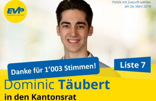 Kantonsratswahlen 2019 – Danke für 1'003 Stimmen!